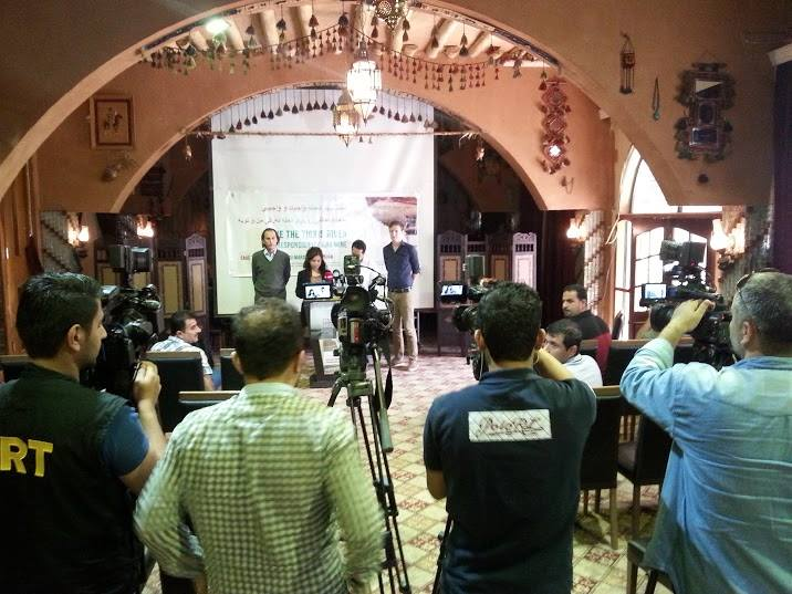 Save the Tigris Campaign Press Conference in Erbil, May 12 2015. Nick Hildyard from Cornerhouse, Johanna Rivera from Save the Tigris Campaign, Salar Ahmed from Al-Mesalla and Toon Bijnens from Save the Tigris Campaign.