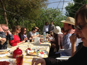 Breakfast at Hasbace in Hasankeyf. People from Turkey, Iraq and other visitors gathered to share and support Hasankeyf.