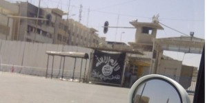 The black flag of Jihad used by the Islamic State of Iraq and al-Sham in Mosul.
