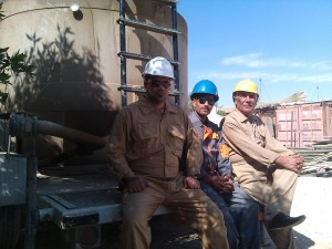 Talib Hashim with others  Oil workers in Basra / October 2014