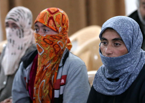 Yazidi women who were released in January after being held by IS for more than five months (AFP)