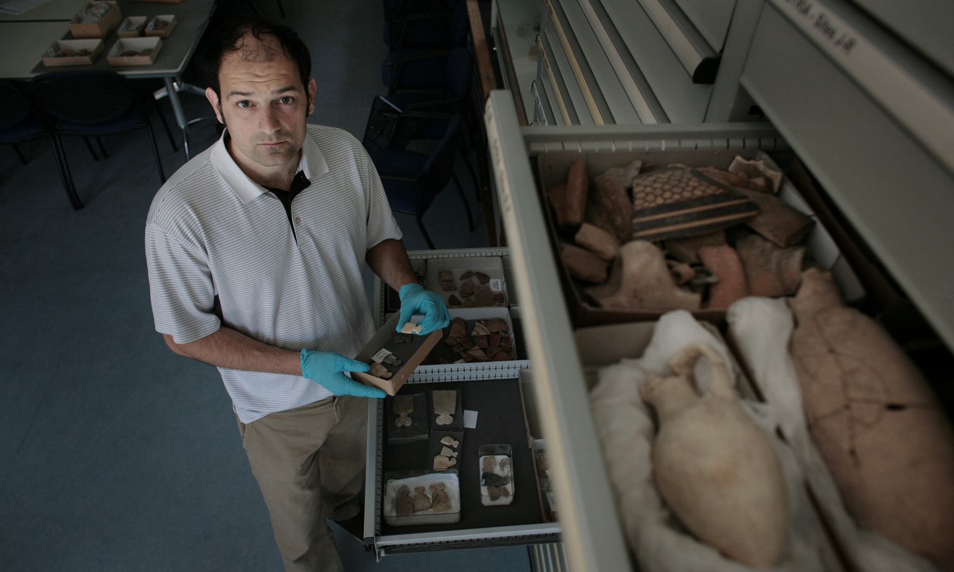 These are blood antiquities … this is funding death' … Mark Altaweel in his laboratory at the UCL Institute of Archaeology in London. Photograph: Martin Godwin for the Guardian