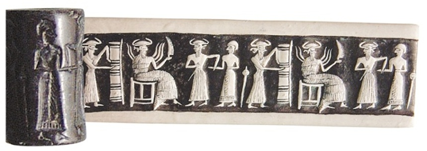 A hematite cylinder seal from Syria, of the kind that sometimes turn up for sale in Europe. Photograph: Directorate General of Antiquities and Museums, Damascus