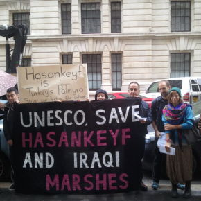Save Hasankeyf! Save the Iraqi Marshes! Stop the Ilisu Dam! Demonstration at the UK Commission for UNESCO