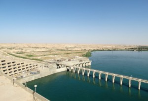 The Haditha Dam (shown here in September), on the Euphrates River in Iraq.