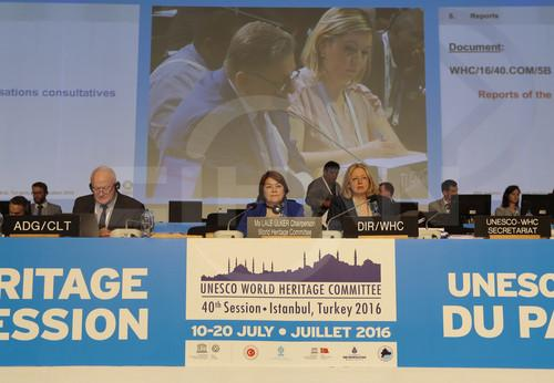 Photo taken on July 11, 2016 shows a scene of the 40th session of the World Heritage Committee in Istanbul, Turkey. The UN Educational, Scientific and Cultural Organization (UNESCO) vowed on Sunday to protect the world's cultural values and heritages against the increasing threat of terrorism and wars more than ever.