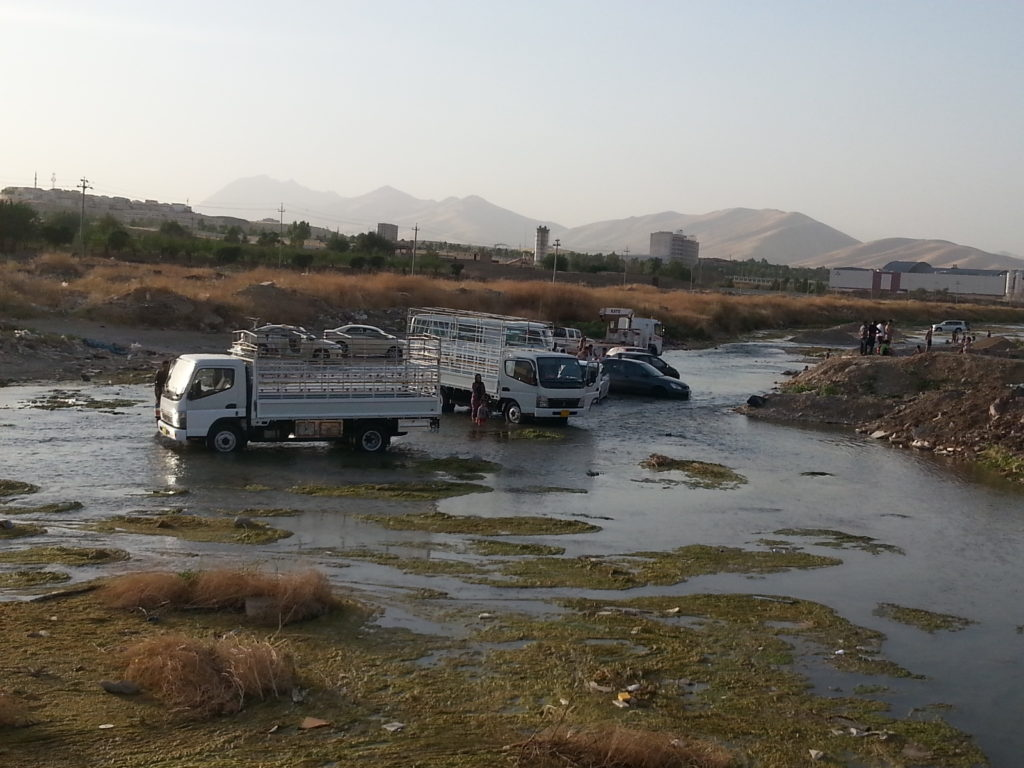 Car wash in the river near Slemani.